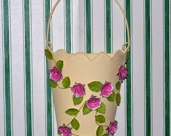 Vintage Tin Rose Vine Wall Vase
