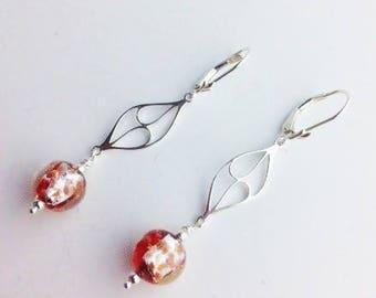 "Venetian Murano Glass earrings, Murano jewelry, Venetian earrings, Sterling earrings - drop earrings  - artisan jewelry - ""Venetian Drops"""