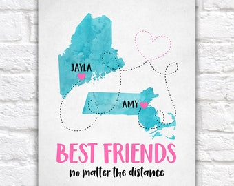 Moving out gift etsy best friend gift long distance friendship maps moving out of state going away negle Images