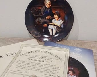 1991 Collectible Norman Rockwell The Young Scholar, Rockwell Heritage Collection, Norman Rockwell plates