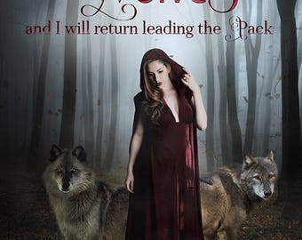 inspirational quote, red riding hood, wolf print, wolf art, fantasy art print, Gothic art print, dark forest, wolf decor, wolf wall art
