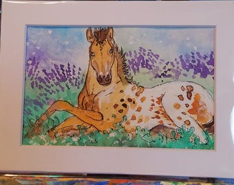 Original watercolors 5 x 6 inch  painting horse art Spotted Babe