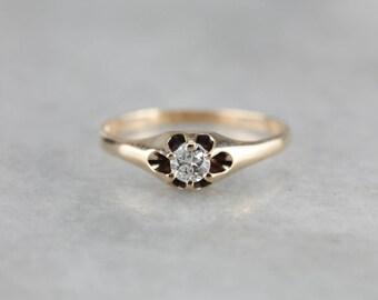 Victorian Belcher Set Diamond Solitaire Ring, Antique Engagement Ring ACKV4K-D
