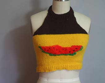 1970 Knit Watermelon Halter // Small