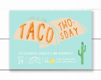 Taco Twosday Birthday Invitation, Taco Birthday Party Invitation, Taco Truck Birthday Party, Southwestern Party, Fiesta birthday- Printable