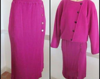 Saint Laurent Skirt / Vintage YSL Skirt / 70s Yves St Laurent Skirt / YSL Pink Knit skirt / fits XS-S / 70s Saint Laurent Midi Skirt