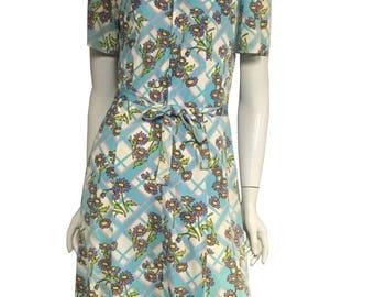 60'S-70's Floral Gingham A-Line Dress