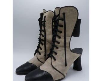 FENDI Vintage Lace Up 9 Eye Boots / Heels