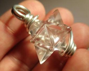 Merkaba Pendant / Merkaba Necklace / Sacred Geometry Jewelry / Merkaba / Crystal Necklace / Spiritual Jewelry / Talisman Necklace