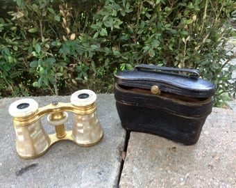 Vintage Paris Opera Glasses and Leather Case Mother Pearl LEMAIRE