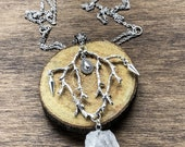 Master of the Wind - natural witch - quartz - long necklace - tree branches necklace -