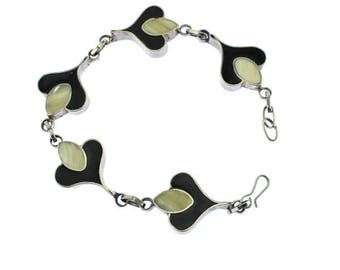Black and White Bracelet, Black and White Link Bracelet, Mother of Pearl Bracelet, Black and Silver Bracelet