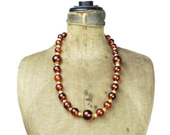 Large Amber  Bead Necklace, Chunky Amber Bead Necklace, Chunky Brown Bead Necklace , Long Chunky Necklace