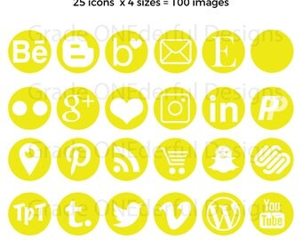 Yellow Social Media Icons, Gold Social Media Icons, Round Yellow Icons, Round Social Icons, Yellow Blog Buttons, Business Card Icons