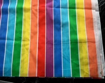 """Vintage Rainbow Stripe Cotton Fabric // 90x45"""" > multicolor > Unused"""