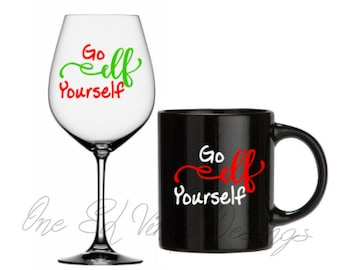 Go Elf Yourself- Christmas Decal, DIY Vinyl Decals Wine Glass, Mugs ... Mug shown NOT Included