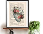 Heart peony Anatomy Botanical Flower vintage drawing book art gothic vintage art print wall art poster decor Halloween gift for him, gothic