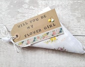 Will you be my flower girl Rustic custom maid of honour hankie, Bridesmaid proposal, perfect flower girl gift