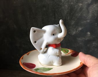 Elephant Ring and Jewelry Holder Assemblage | Vintage White Elephant Figurine With Franciscan Apple Saucer | Catch All | Ring Dish