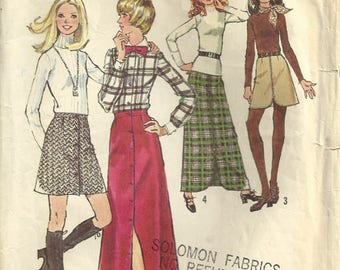 Simplicity 5144 Misses 70s Button Front Mini & Maxi Skirts Vintage Sewing Pattern 1972 Size 16 Waist 30