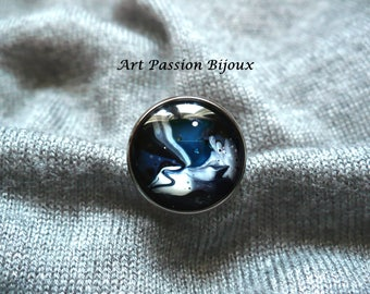 Blue white ring, galaxy ring, marble ring, space ring, wavy ring, abstract jewelery, painted on water, stainless steel ring, FREE shipping