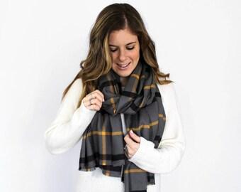 Blanket Scarf, Fringe Scarves, Flannel Cotton Scarf Fringed