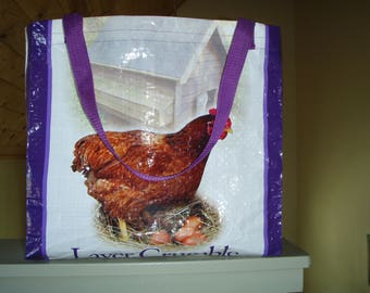 Upcycled Chicken Feed Polywoven Carry All Bag-Great Grocery Bag