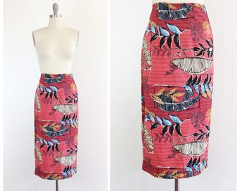 50s Red Hawaiian Wrap Skirt / 1950s Vintage Tiki Pencil Skirt / One Size Fits Most
