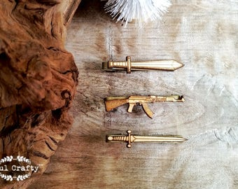 Rifle Sword Viking Sword Wooden Tie Clips war weapons firearm gun Dad Grooms Bestman Groomsman Wedding Birthday Gift Tie Bar