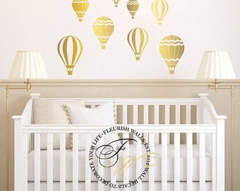 Etonnant Hot Air Balloon Wall Decal   Gold Wall Decal   Baby Girl Nursery Wall Decal