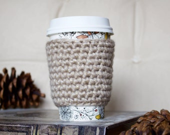 Beige Sparkle Cable Coffee Cozy/ Tea Cozy/ Cup Cozy/ Coffee Cover/ Coffee Sleeve/ Latte Cozy