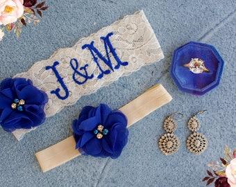 Garter Set   Bridal Garter   Personalized Garter   Plus Size Garter    Royal Blue   Bodas