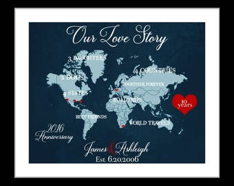 Any Year Anniversary, 10th Anniversary Gifts For Him Men Her Unique Present Husband Wife Time 10 Year Anniversary Gift, Canvas Option