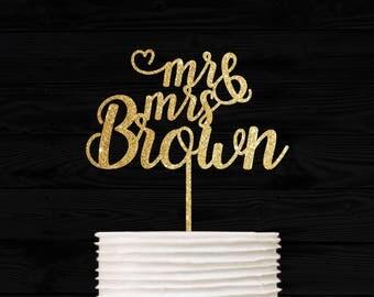 Customized Wedding Cake Topper, Personalized Cake Topper for Wedding, Custom Personalized Wedding Cake Topper, Last Name Cake Topper # 02