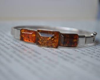 Vintage Sterling Amber Bracelet - 1960s Baltic Amber Silver Bangle, Cognac Amber