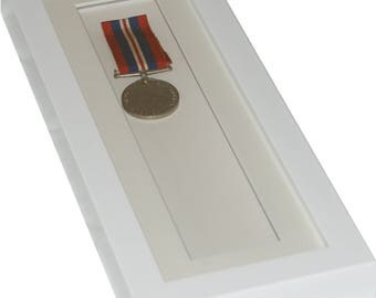 Deep white shadow box display frame, 12x4 Tall for medals, pocket watches,keepsakes