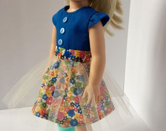 Short sleeve blue and flower dress. Handmade doll clothing. Made to fit AG Wellie Wisher doll.