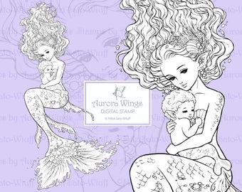 PNG Digital Stamp - Instant Download - Mermaid and Her Baby - Set of Two Files - digistamp - Fantasy Line Art for Cards & Crafts