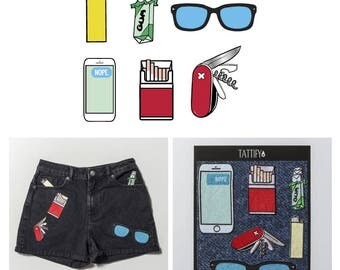 Pocket Items Phone Keys Wallet Embroidered Sticker Patch Set Pop Culture Collection