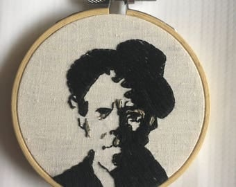 Tom Waits Hand Embroidery Hoop Art 3""