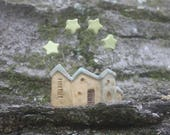 miniature houses with stars, Christmas ornament, OOAK carved stoneware clay