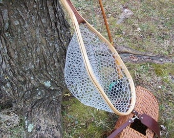 Catch & Release Style Ash/Walnut 2-Ply medium size handcrafted wooden trout fishing net with clear rubber netting