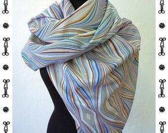 ART DECO SCARF Silk/ Cotton, Art Nouveau, Scarves, Shawls, digital print, 1920s, 1930s, 1940s, Silk Scarves, Wrap, marbling wraps, blue, red
