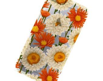 Orange White flowers Phone Case, iphone 6, iphone 6 Plus, iphone 7, iphone 7 Plus, iPhone SE, iPhone 5, Iphone 5c, Galaxy S6, Galaxy S7