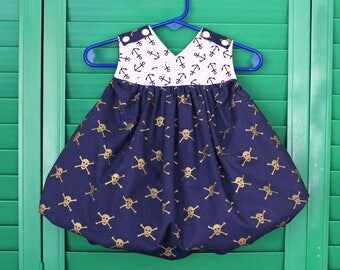 Ready to Ship - Pirate Resizable Dress -ONE size fits 3m, 6m, 9m, 12m, 18m, 24m, 2T, AND 3T - Reversible Skull & Crossbone Dress- Made in MN