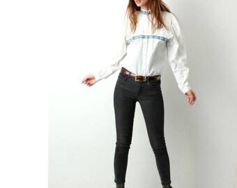 Vintage Folk Blouse / Cotton White Blouse / Ethnic Blouse / Wide Sleeve Blouse / Embroidered Blouse / Size M