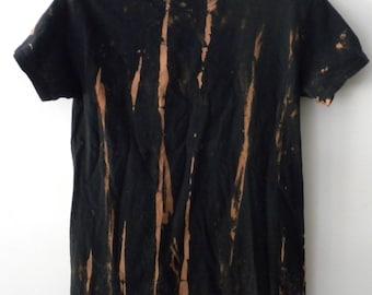 Tie dye Tee shirt, Acid wash Tee Shirt, Black, dip dye, Grunge, retro, hipster, trending fashion, rocker, reverse tie dye