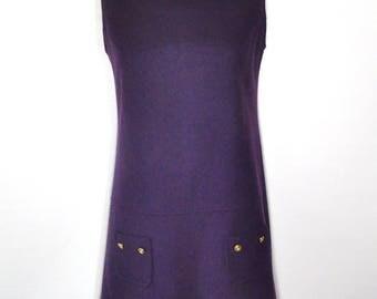 Purple Shift Dress, Mod Sleeveless Mini Minimalist One Piece Sz 13, Vintage Jumper Above Knee Rear Zipper Back to School Fall Winter Wear