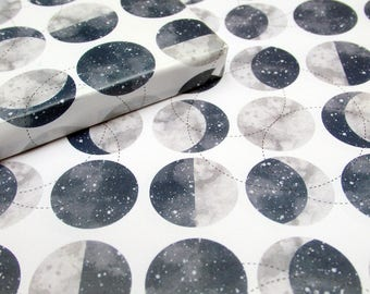 Hand Illustrated Watercolour Moons Gift Wrap, Cosmic Galaxy Starry Sky Moon Phase High Quality Wrapping Paper