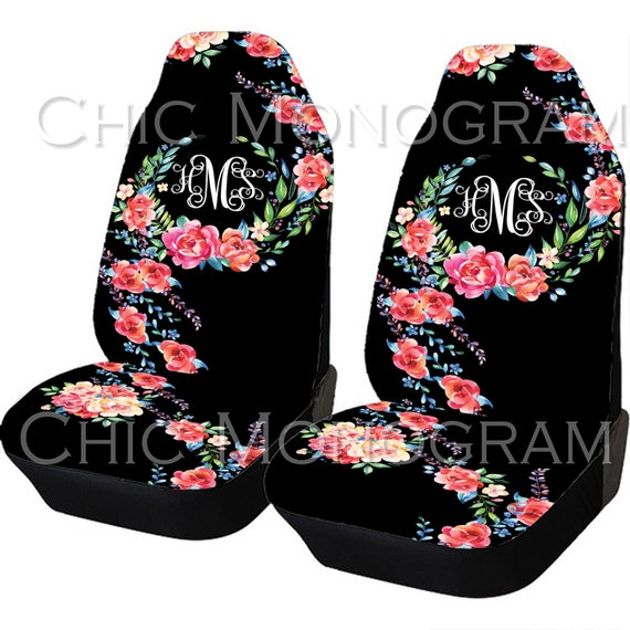 Classy Black Floral Car Seat Covers Set Of Two Front Seat Covers And Back Seat Cover Monogram Personalized Seat Covers For Car For Vehicle